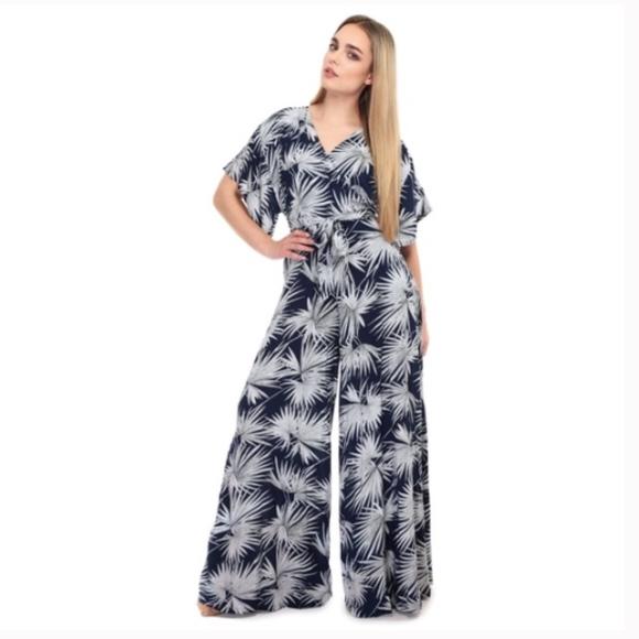 51809b52c429 Collectif London Pants - Collectif Vintage Palm Print Jumpsuit 50s Navy 14